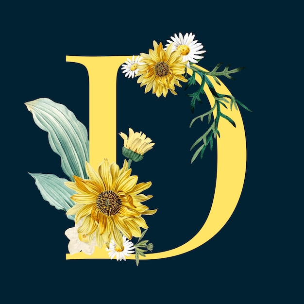 Letter d with blossoms Free Vector