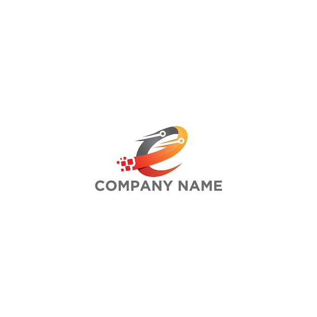 Letter e digital technology logo design Premium Vector
