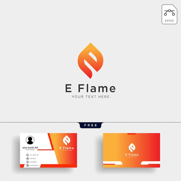 Letter e flame logo template with business card Premium Vector