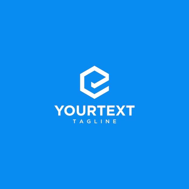Letter e hexagon logo, with blue background Premium Vector