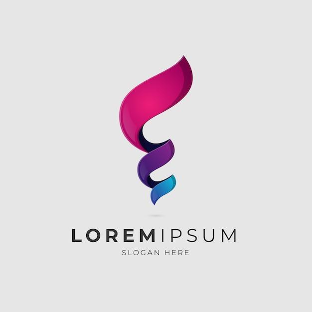 Letter e hurricane gradient logo Premium Vector