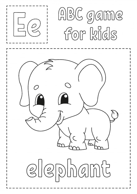 Premium Vector Letter E Is For Elephant Abc Game For Kids Alphabet Coloring Page