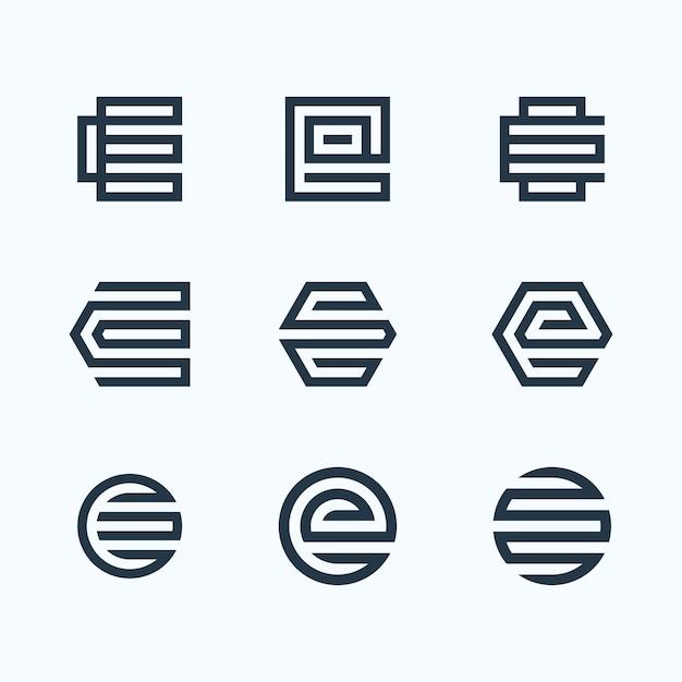 Letter e logo bundle Premium Vector