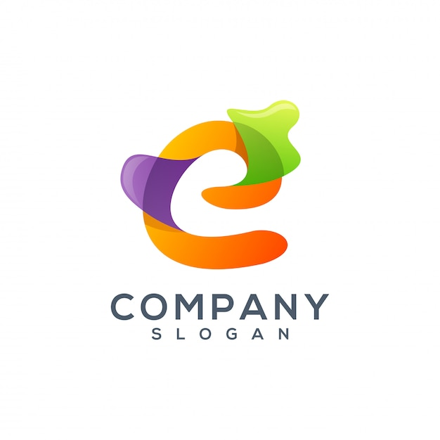Letter e logo design Premium Vector