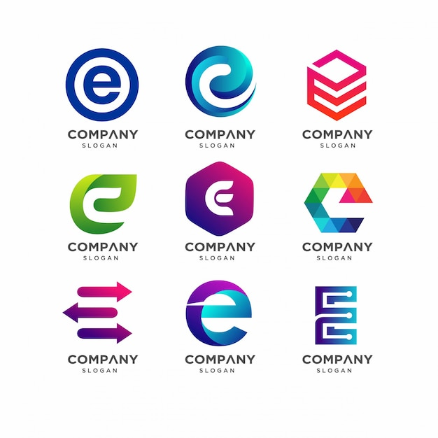 Letter e logo template collection Premium Vector