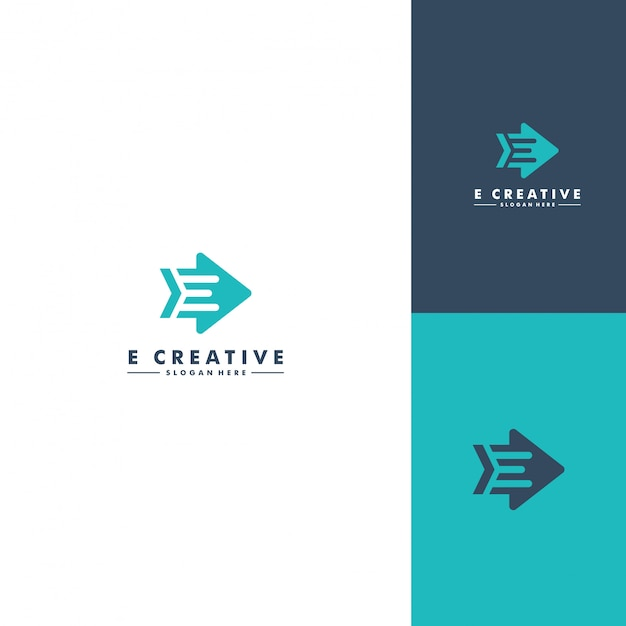 Letter e logo template Premium Vector