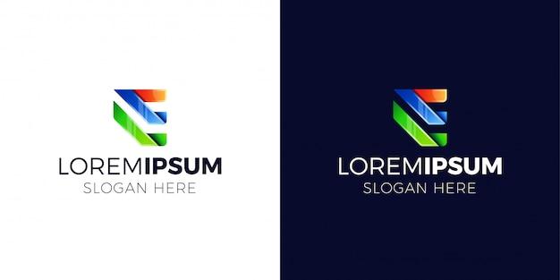 Letter e logo with gradient style. Premium Vector