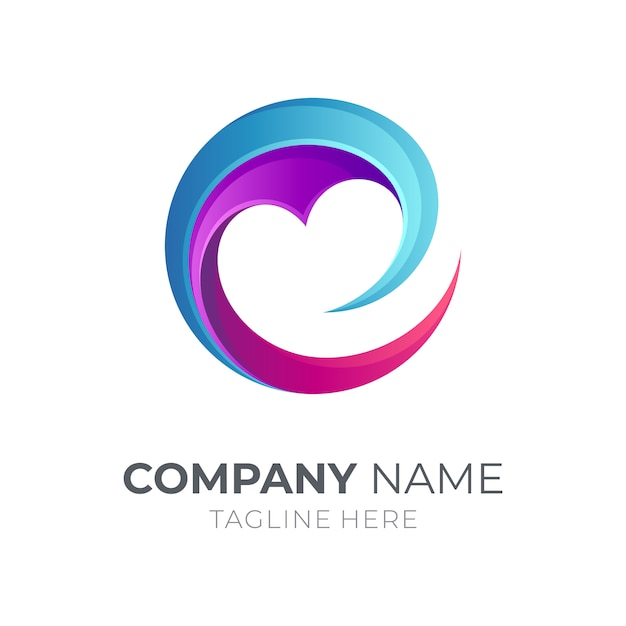 Letter e logo with love/heart Premium Vector