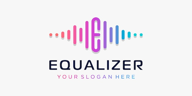 Letter e with pulse . equalizes element. logo template electronic music, equalizer, store, dj music, nightclub, disco. audio wave logo concept, multimedia technology themed, abstract shape. Premium Vector