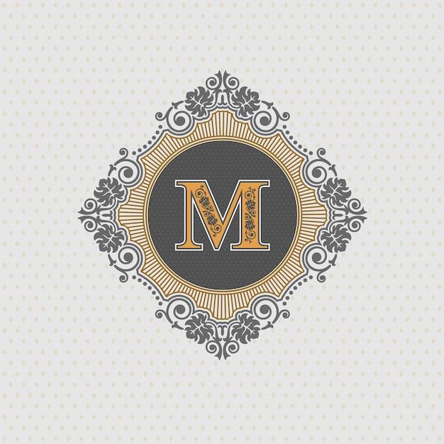 Letter emblem m template, monogram design elements, calligraphic graceful template, Premium Vector