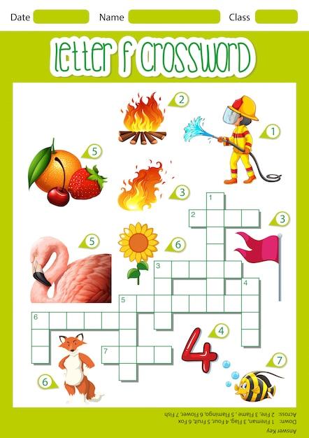 Letter f crossword worksheet Free Vector