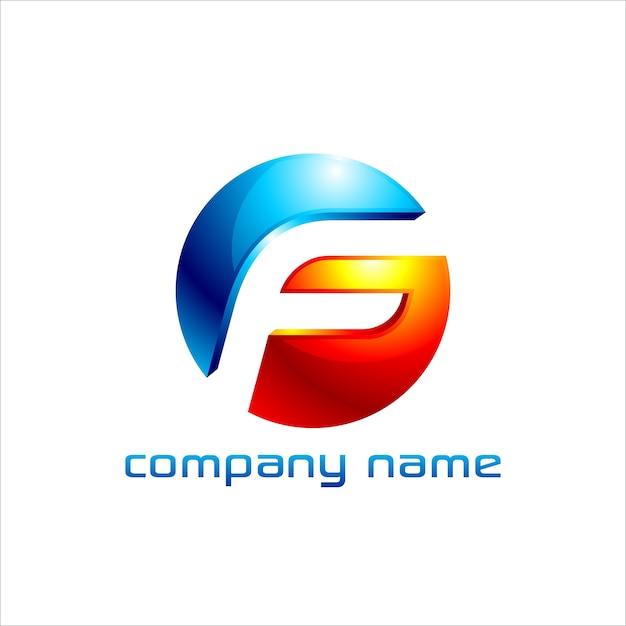 Letter f logo design with 3d look Premium Vector