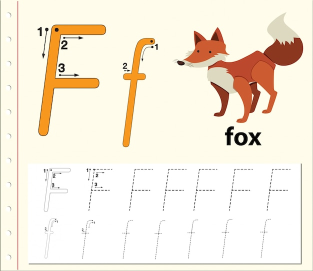 Letter f tracing alphabet worksheets Premium Vector