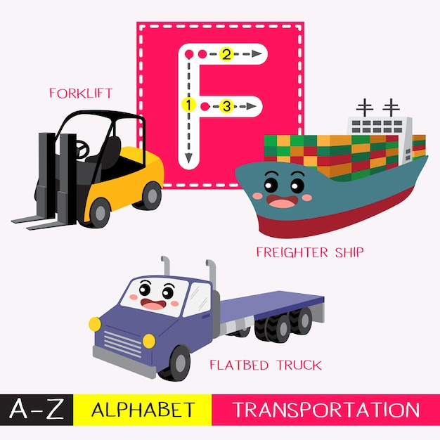 Letter f uppercase tracing transportations vocabulary Premium Vector