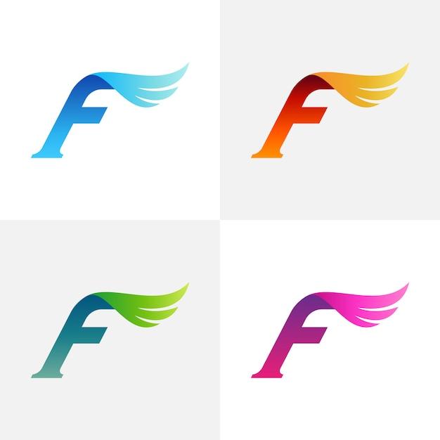 手紙f翼ロゴデザイン Premiumベクター