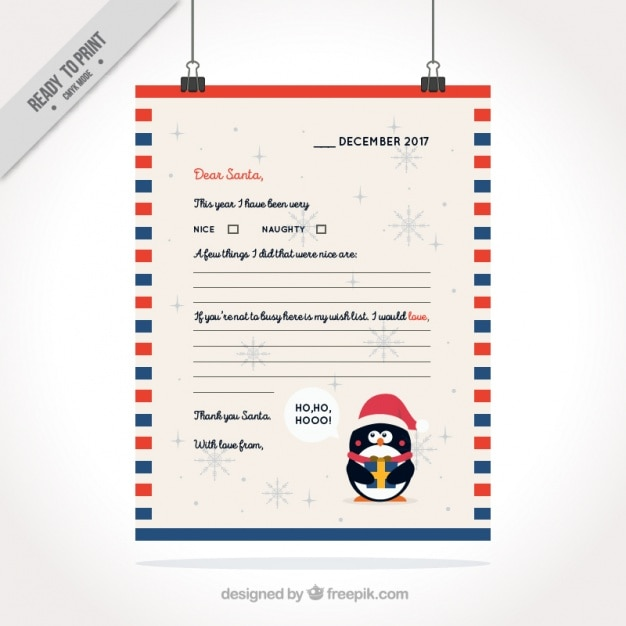 Letter for santa claus with nice penguin