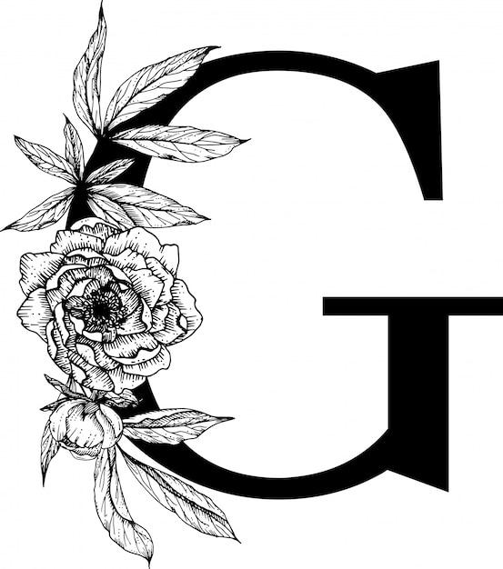 手紙g.花アルファベット Premiumベクター
