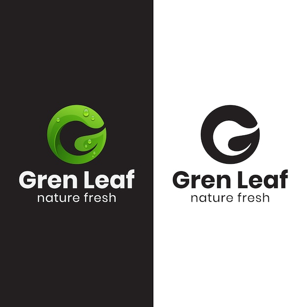 Letter g green leaf logo with black version Premium Vector