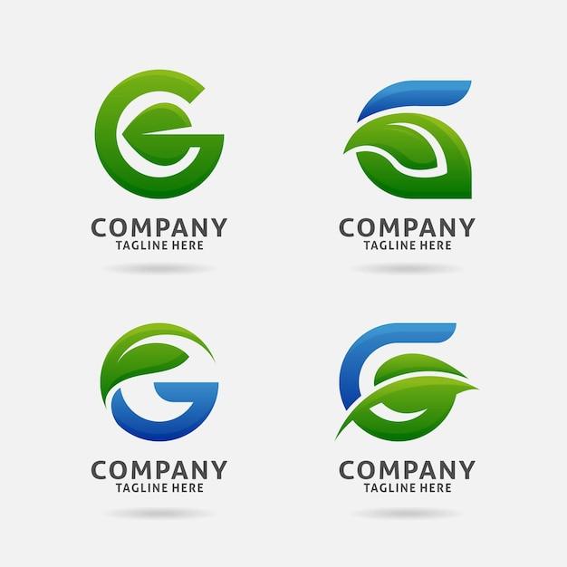 Letter g leaf logo design Premium Vector