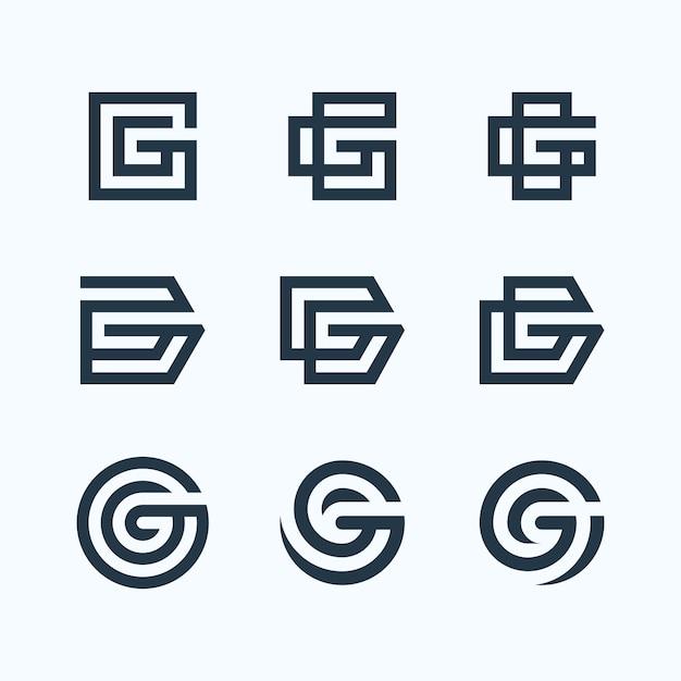 Letter g logo bundle Premium Vector