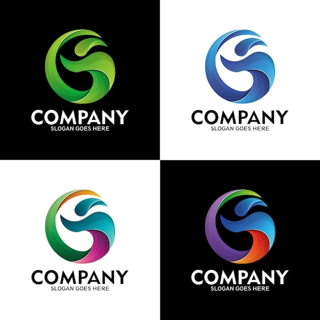Letter g logo and people with sea wave style, modern wave logo, people and letter g Premium Vector