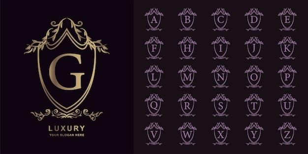 문자 G 또는 컬렉션 초기 알파벳 럭셔리 장식 꽃 로고 템플릿 프리미엄 벡터