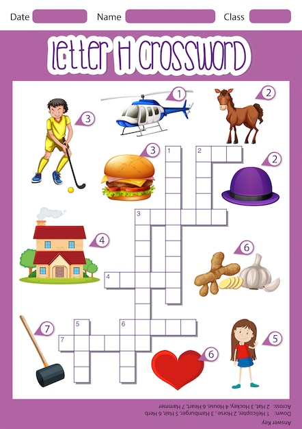 Letter h crossword template Free Vector