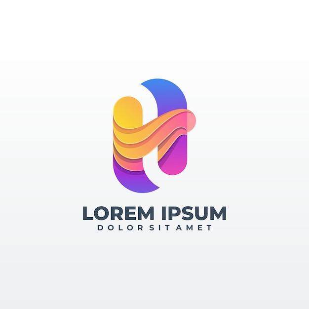 Letter h logo design colorful smooth gradient Premium Vector