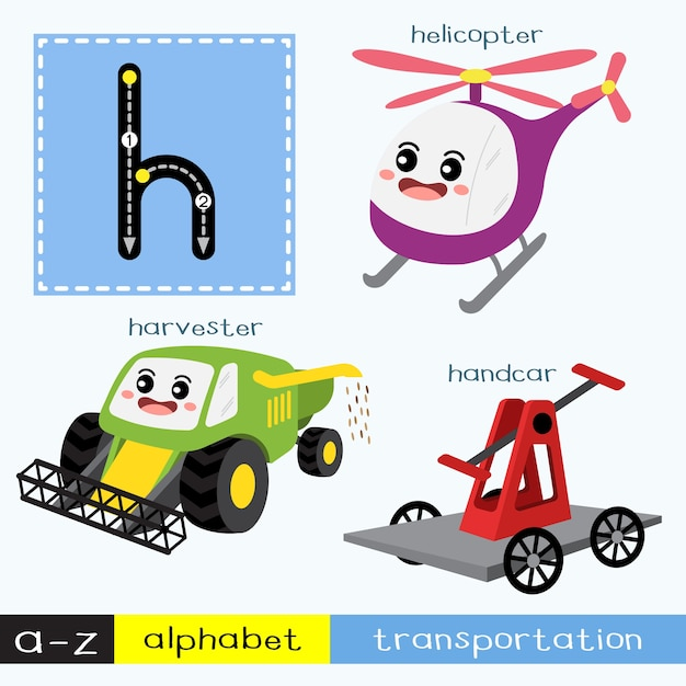 Letter h lowercase tracing transportations vocabulary Premium Vector