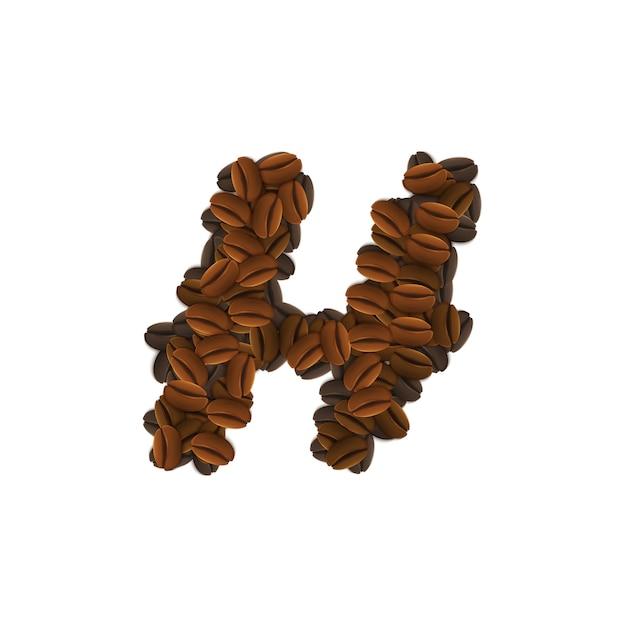 Буква h кофейных зерен Бесплатные векторы