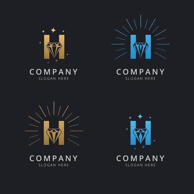 Буква h с роскошным абстрактным алмазным логотипом Premium векторы