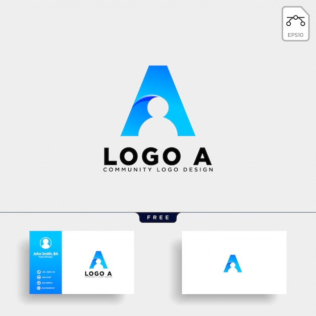 Letter a human logo template vector icon isolated Premium Vector