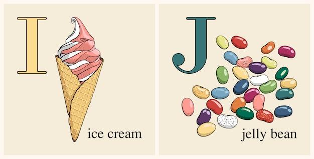 Letter i with ice cream Premium Vector