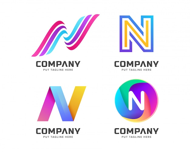 Letter initial n logo template for company Premium Vector