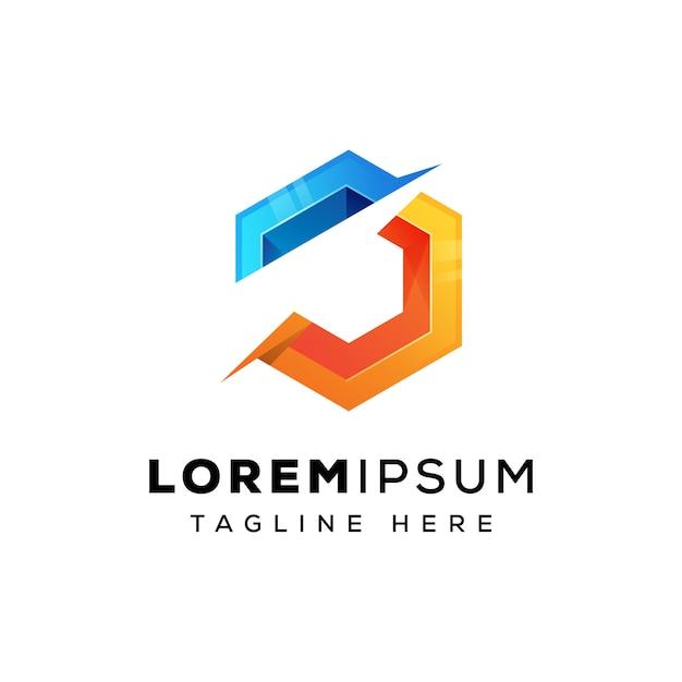 Letter j hexa logo template Premium Vector