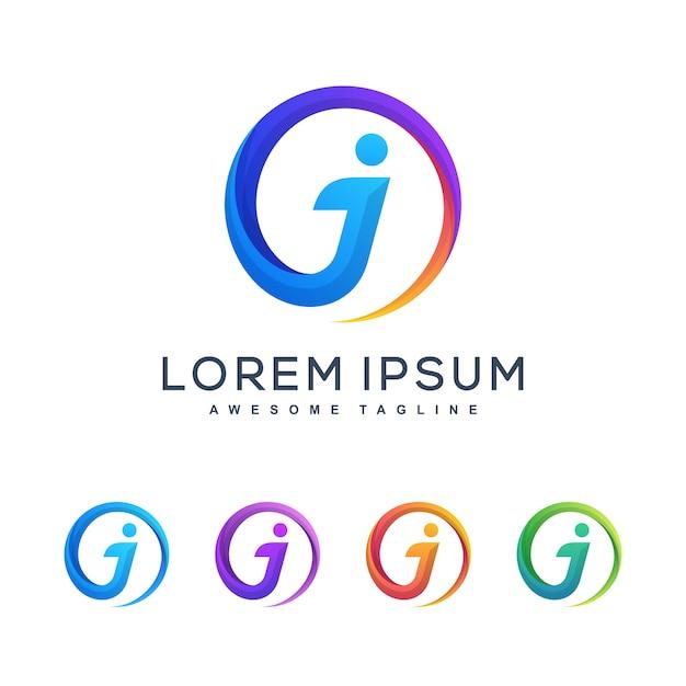 Letter j multicolored concept illustration vector design template Premium Vector