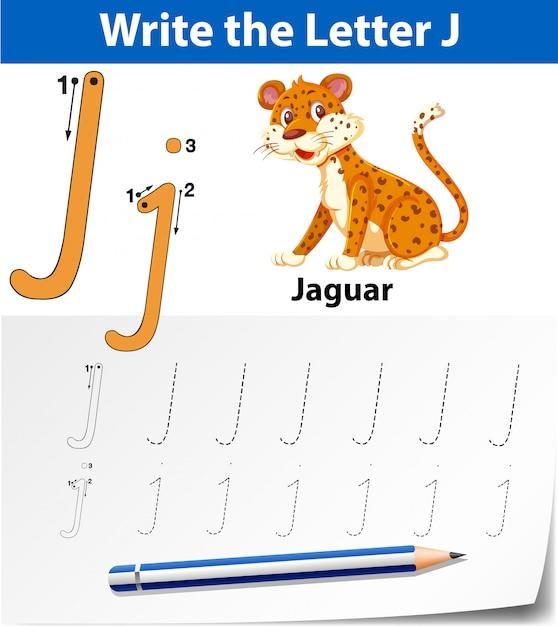 Letter j tracing alphabet worksheets Premium Vector