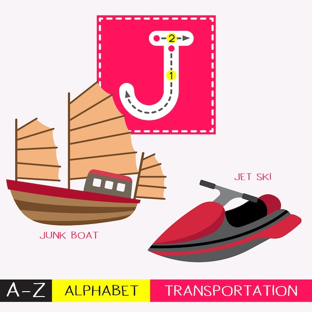Letter j uppercase tracing transportations vocabulary Premium Vector