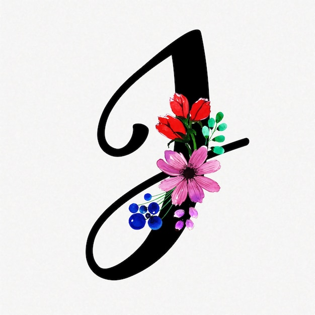 Letter j watercolor floral background Premium Vector