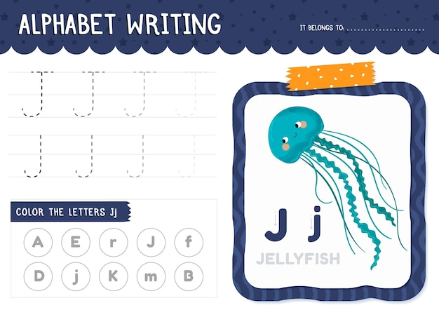 Letter j worksheet with jellyfish Free Vector