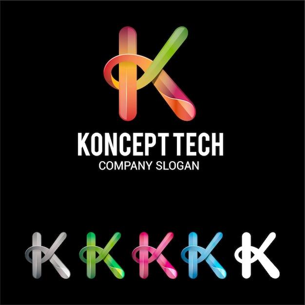 Letter k 3d logo Premium Vector