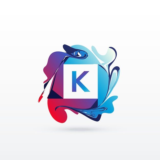 Letter K Logo With Abstract Shapes Vector Free Download