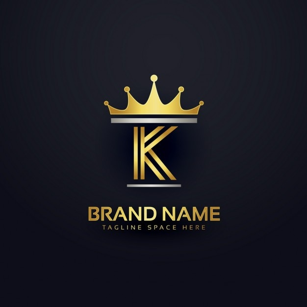 Letter K Logo With Golden Crown Free Vector