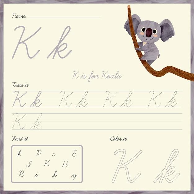 Foglio di lavoro lettera k con koala Vettore gratuito