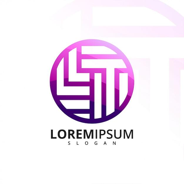 Буква l и t логотип Premium векторы