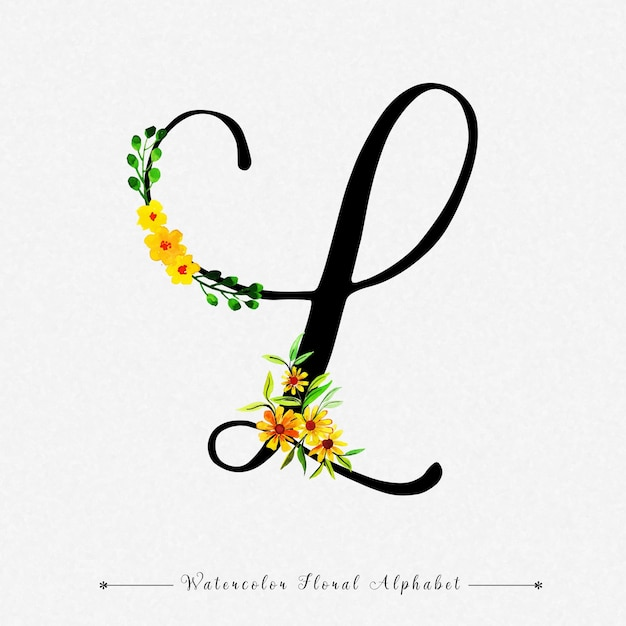 Letter L Watercolor Floral Background Premium Vector