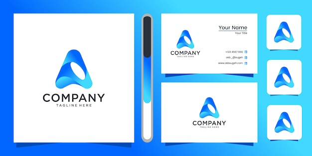 Letter a logo and business card. Premium Vector