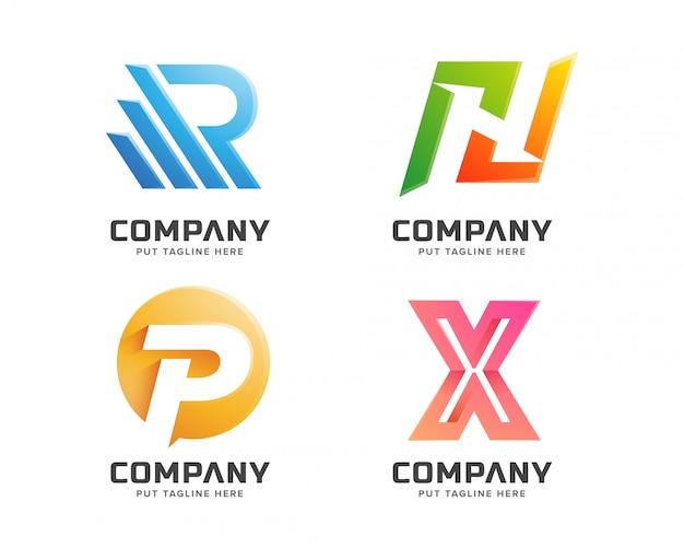 Letter logo collection abstract logotype business company Premium Vector