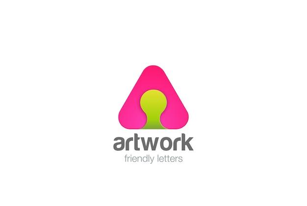 Icona della lettera a logo. stile lineare. Vettore gratuito