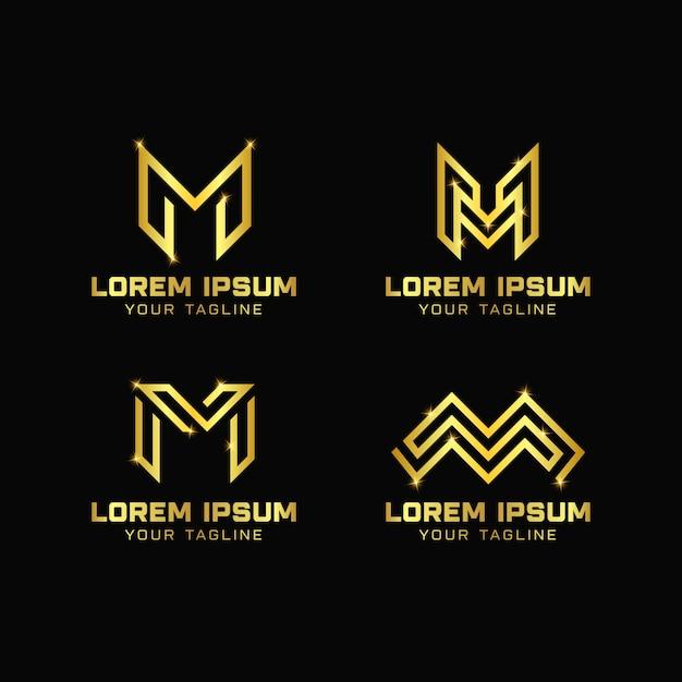 文字mデザインのロゴのテンプレート Premiumベクター